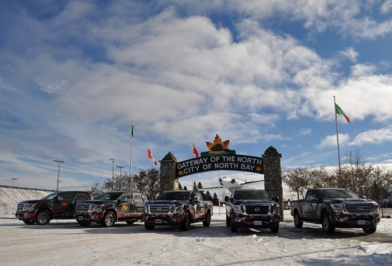 A Nissan Titan rally to setup the Grey Cup
